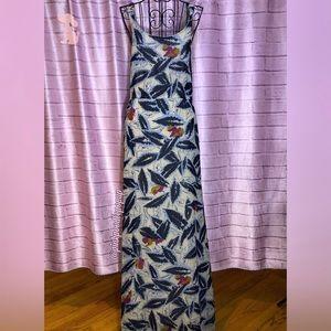Willow & Clay Blue & Cream Split Front Maxi Dress